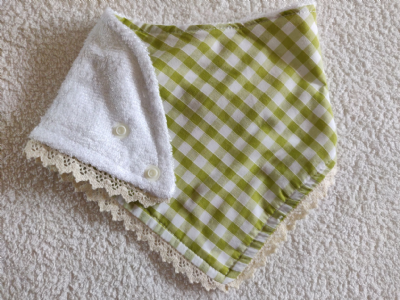 Green Gingham Lace Edged Bib